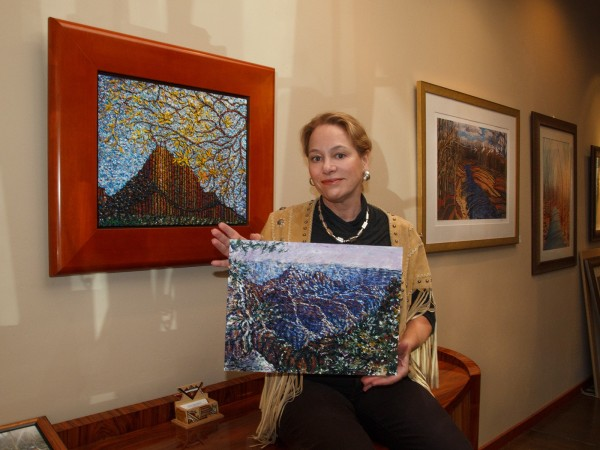 "Fitz Maurice in her Laguna Canyon studio, with ""Transept,"" depicting the Grand Canyon, her 1008th painting. Photo by Mark Chamberlain, BC Space."