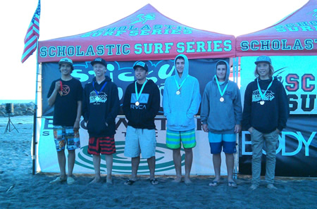 Jack Dickerson, center, among the medalists. Photo courtesy Coaches Scott Finn and Alisa Cairns