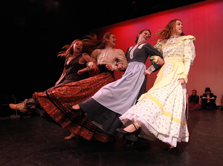 "From left, Clair Howell, Marlena Becker, Tatum Moore, and Ellie Glade as the March sisters in ""Little Women."" Photo by Roark Gourley"