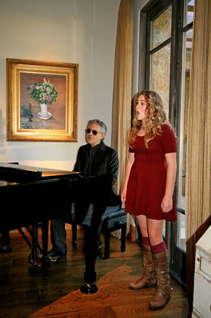 Photo by Gregg Ostro LBHS sophomore Tessa Mansour accompanies star tenor Andrea Boccelli at a recent fundraiser in Phoenix.