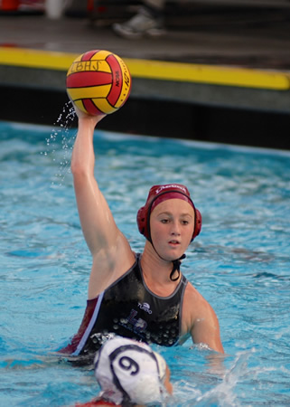 Haley Evans defending against USC bound Sydney Blubaugh
