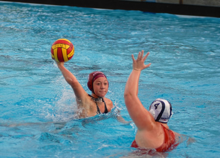 Sophomore Ally Jochim against Sydney Blubaugh; she scored twice against the previously undefeated Monarchs.