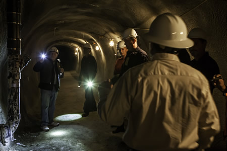 Visitors check out the stabilized section of the water district's sewer tunnel through the coastal bluffs.