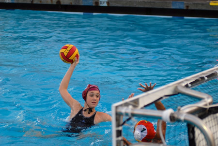 Aria Fischer ready to fire another score against Edison this past Tuesday, Dec. 10. The freshman has scored 14 goals so far this season to lead all Laguna players  while her older sister, Makenzie, last year's top scorer, has been playing with the US Senior Women's National Team.