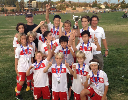 The AYSO Extra team, Coaches Jeb Dickerson and Charlie Hawkins and players  Rusty Hunter, Eric Cortellessa, Gustav Morck, Charlie Dickerson, Johan Hingel, Dylan Miller, Luke Rogers, Ryan Smithers, Mason Lebby, Victor Castillo, Gaal Shonfeld, Kyle Shaw, Landon Needham and Cole Hawkins.
