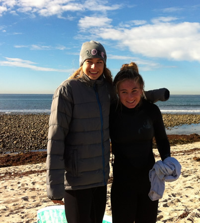 Coco Putnam, left, and Kira Hamilton brave the chill for the season final at Trestles.