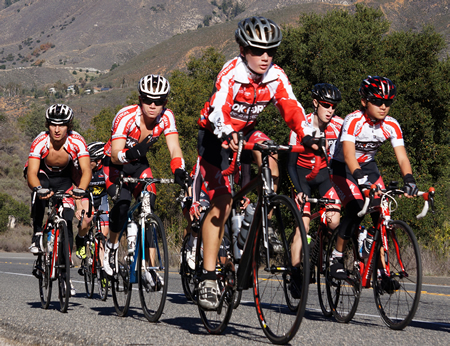 Massimo Lucidi leads Team RokForm up Mt. Palomar during a recent cycling camp.Photos by Richard Lucidi