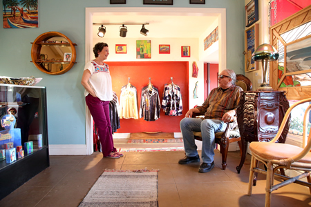 Diane Valentino and Kent Kelley inside the new Mystic Arts, which opened in December