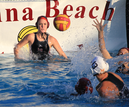 : Senior Jenna Knott has her eyes one of her three saves against Foothill on Friday, Jan. 10.