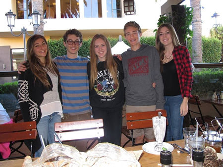 From left, Shira and Aaron Alcouloumre and their friends, Giordana, Julian and Christina Ricci. Ethan Schlatter, not pictured, also donated to the effort.