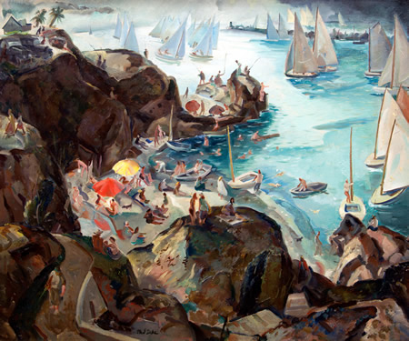 "Phil Dike's ""California Holiday,"" depicting Pirate's Cove in Corona del Mar, part of the Irvine Museum's new exhibition."