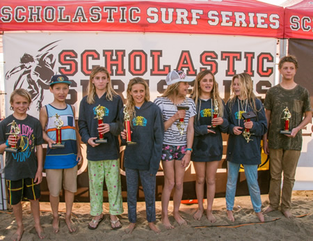 Photo courtesy Thurston Surf Team. Thurston Middle School's team also wins in San Clemente. From left, Nolan Rogers, Jameson Roller, Lola Fisher, Kayla Coscino, Cate Stokes, Liv Stokes, Claire Kelly and Jeremy Shutts. Not pictured, coaches Jeff Booth, Bobby Lockhart, Tony Shutts and Sam McCue.