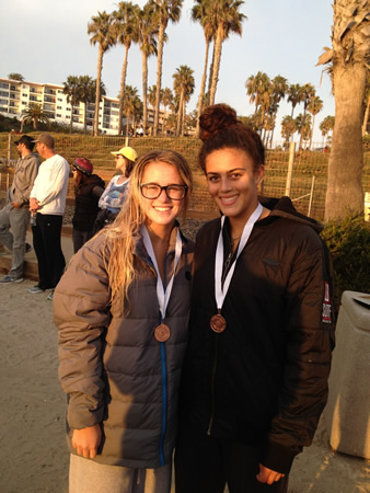 Cayla Henderson, left, and Marlee Grosher medal in San Clemente.