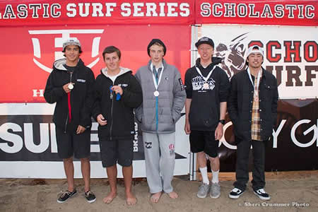 Laguna's Ryan Meisberger, center, finished third overall in the bodyboard division.