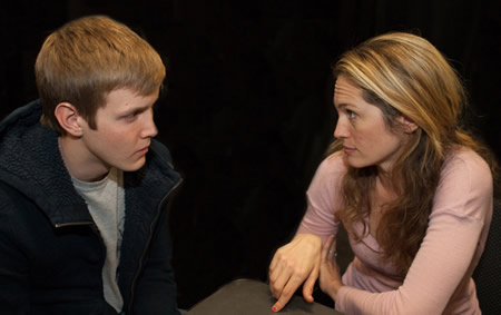 "Amanda Saunders, right, a former local high school drama instructor, in a scene from ""Firemen"" with Ian Bamberg."