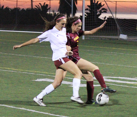 Junior Audrey Pillsbury tries to get around an Estancia defender for the ball during Laguna's 2-1 home loss on Thursday, Jan 16.