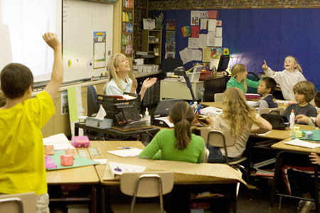 Teacher Patty Rabun takes delight in her students' reaction.