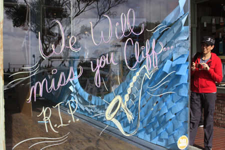 A written memorial to Cliff Mabra at Toes on the Noes surf shop.