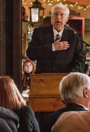 War hero and patriot of the year Robert Mosier during Sunday's brunch for parade honorees. Photos by Mitch Ridder
