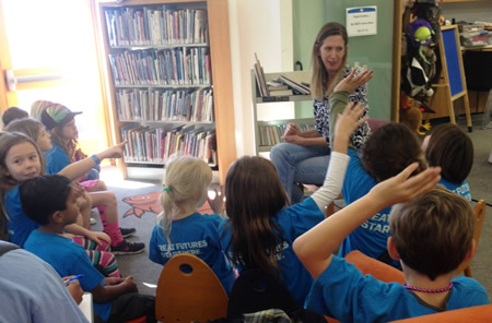 Children's librarian Rebecca Porter with a new crop of patrons