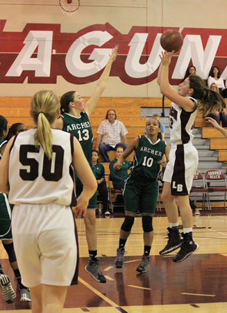 Jackie Cenan goes up for two of her game high 36 during Laguna's first round CIF win at home against Los Angeles' Archer School for Girls on Thursday, Feb. 20.