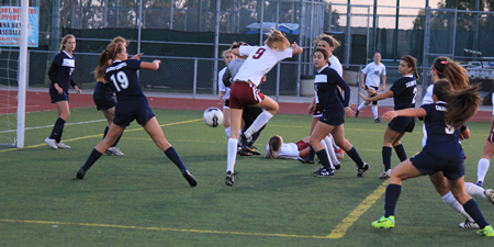 Junior Janie Crawford kicks the ball off the side of her foot for the only goal in Laguna's 1-0 home victory over Calvary Chapel on Monday, Feb. 10.