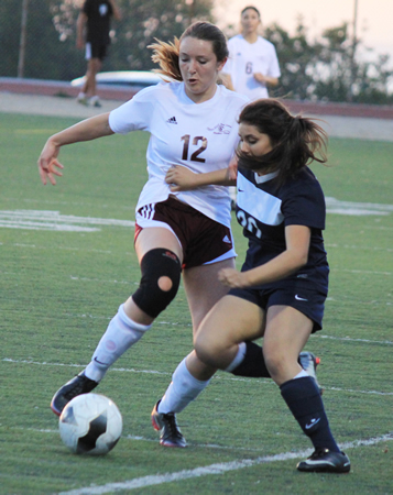 Sophomore Katelyn Carballo makes a move on a Calvary Chapel defender during Laguna's 1-0 home win on Monday, Feb. 10.