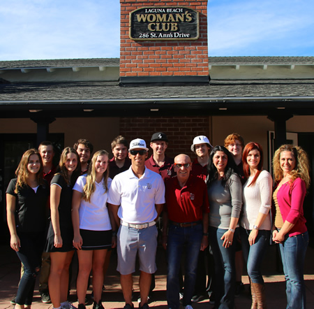 Kelly Boyd, fourth from right, with club president Ellie Ortiz, third from right, as well as other event organizers and members of the golf team.