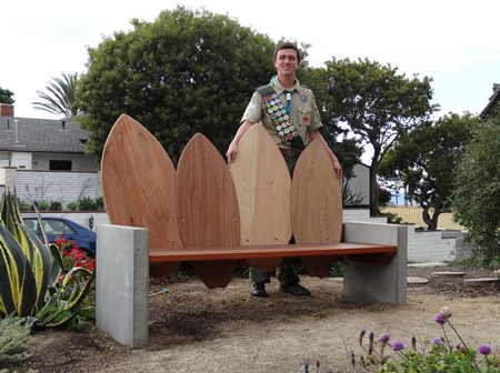 Brantlee Griffith with skim board bench.