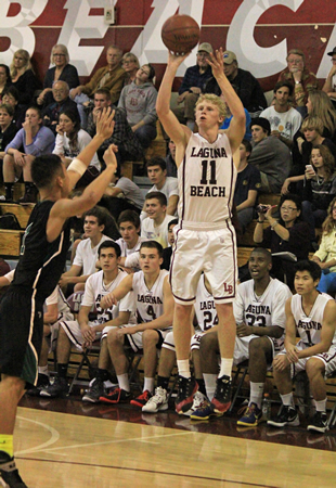 Senior Alec Wulff goes up for shot against Costa Mesa in Laguna's 81-53 home win on Wednesday, Jan. 29.