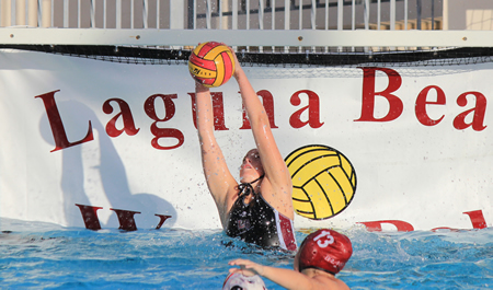 : Sophomore Holly Parker collects one of her five saves during Laguna's 17-7 home win against San Marcos on Friday, Jan 31.