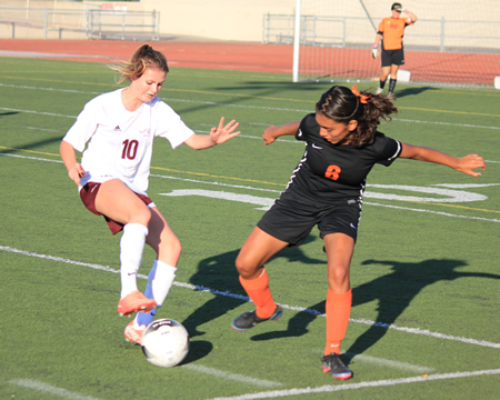 Freshman Regan Caraher scored one goal and assisted on the other in Laguna's 2-0 first round CIF win at home against Chaffey of Ontario on Friday, Feb. 21.