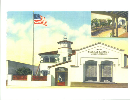 A postcard of an earlier Laguna Federal location at 222 Ocean Ave.