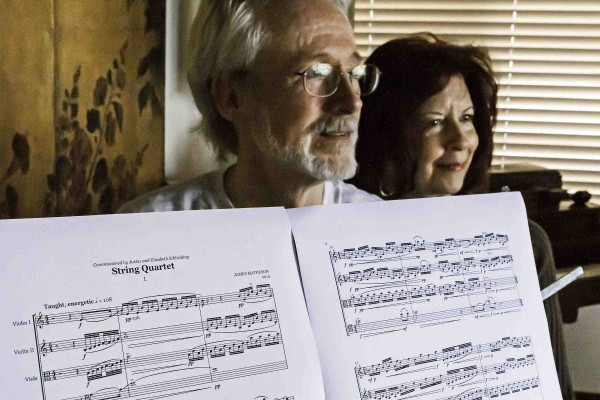 Justus J. and Helen Schlichting and the work they commissioned, which will be performed at the Segerstrom Center. Photo by Mitch Ridder