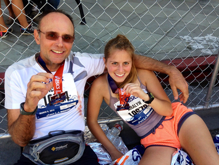 Laguna Beach's Exchange Club president Michael Cook and his daughter, Aralyn, after the finish of the LA Marathon. Photo courtesy of Michael cook.