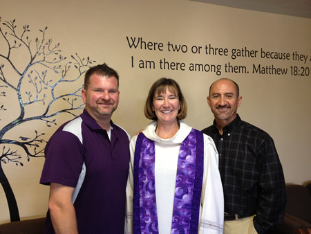 Rev. Mary Scifries, center, with the Methodist's church's new youth director Brian Pearcy and musical director Phil Theodorou.
