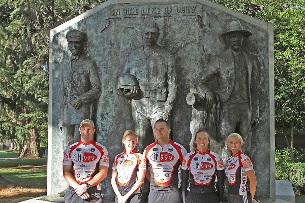 From left, Jon Coutchie, Beckie White, Brian Clasby, Julia Bowman and Spring Sendele at the Fallen Officer Memorial in Sacramento in 2010. Another group sets out in May on bikes with M-13 stickers in remembrance of Coutchie, who died last September.