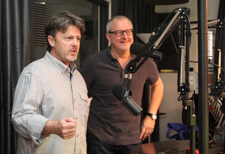 Photo by Faye Chapman Scott Hays, left, and Robert Palmer in the KX 93.5 broadcast booth during this past Saturday's show