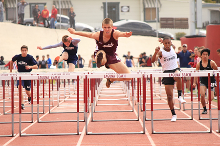 Sophomore Charles Warner took second in the frosh/soph 110meter hurdles. Photos by Robert Campbell