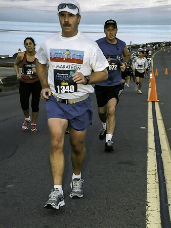 Local lifeguard Mitch Ridder at a recent marathon in Carlsbad.