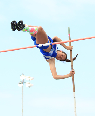 "Dana Hills pole vaulter Claire Kao cleared 11'9"" to break the meet record."