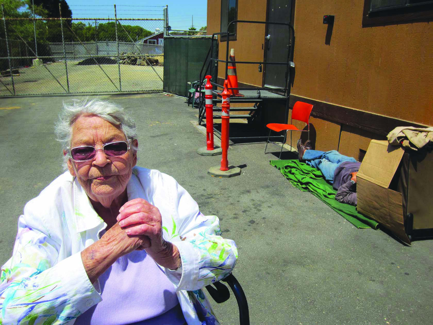 Friendship Shelter supporter Jean Raun outside the city's homeless shelter in Laguna Canyon and location of the organization's proposed supportive housing project.
