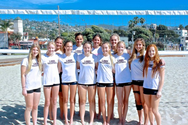 Photo by Courtney Smith Breakers opened the season this past Saturday, March 15, with wins over Flintridge Sacred Heart and Santa Monica. Back row, from left: Aspen Rocha, Cammie Dorn, Sabrina Stillwell and Sage Patchell; front row, Molly Fluter, Claire Hockaday, Lauren LaMontange, Katelyn Carballo, Kendyl Brennan, Olivia Hockaday, Briana Boyd and Francie Holte