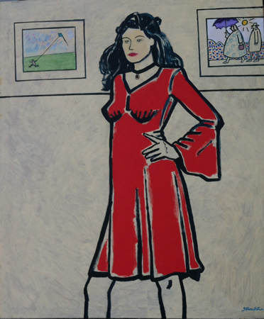 "Strombotne's ""Red Dress"" is on exhibit at Gallery McCollum."