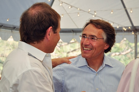 Robert Zur Schmiede, right, greets a supporter this past Sunday at a fundraiser.