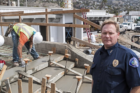 Marine safety Chief Kevin Snow outside the soon-to-be completed headquarters at the north end of Main Beach.