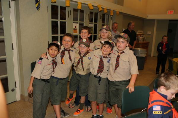 A ceremony marked the progression of a Webelos Den to Boy Scouts.