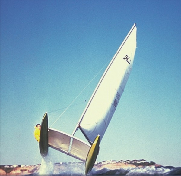 Hobie Alter, the former Laguna Beach board shaper who designed the modern catamaran, sailing off Dana Point around 1969. A Doheny Beach race in 2008 marked the boat's 40th  anniversary.