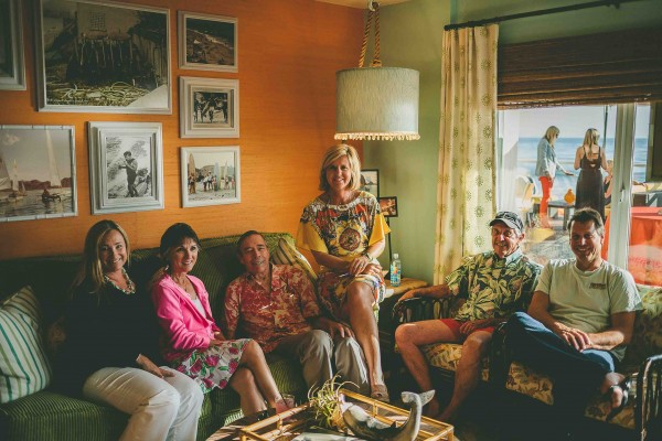 Hobie Alter, third from left, with Wendy Grand Pre, wife Susan Alter,  daughter Laurie Alter, Dick Metz and  son Jeff Alter. The occasion  last May was the opening of Pacific Edge Hotel's bungalows designed by Laurie Alter's Tuvalu store.