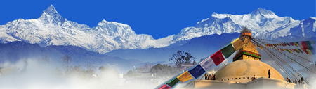 Pictured is the Himalayan mountain range and a stupa, symbols for an ethnic festival next weekend in Laguna Beach.